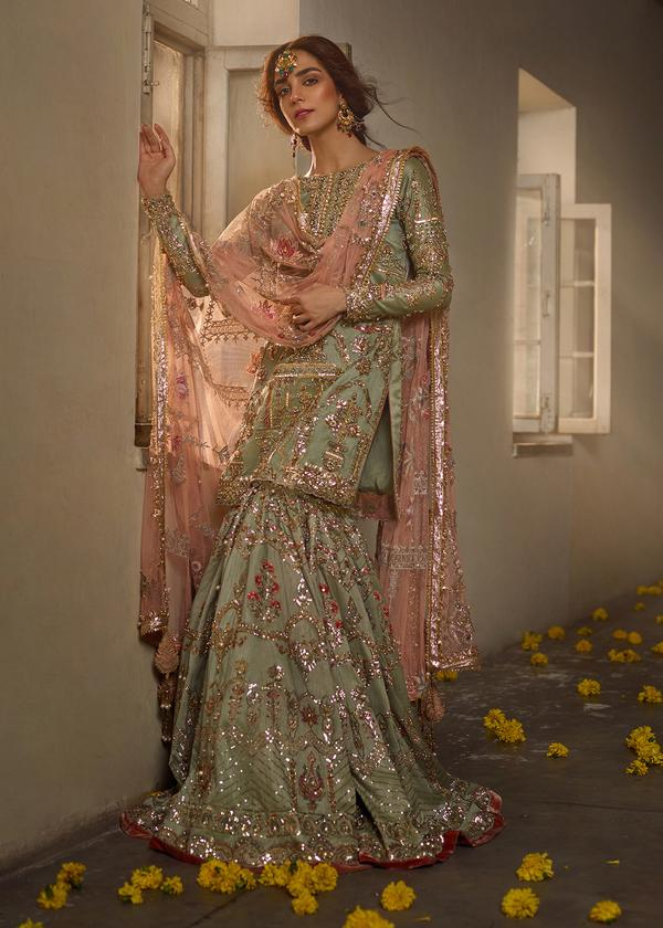 Green Raw Silk Heavy Embellished Pakistani Gharara