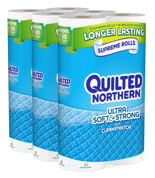 Equals $0.20 per Regular roll — 24 Quilted Northern SUPREME Ultra Soft and Strong Toliet Paper!