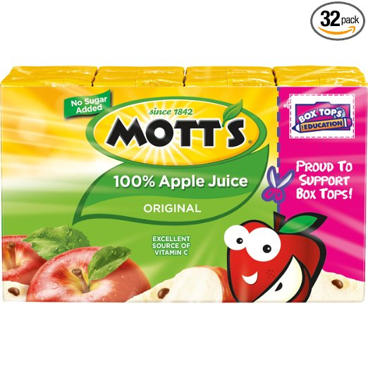 32 boxes – Mott's 100% Original Apple Juice – for only $9.50!! Great price!!