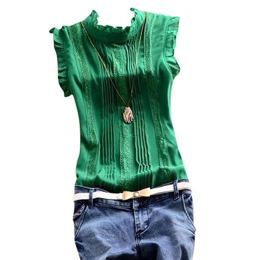 Women Chiffon Polka Dot Blouse Ruffle Sleeve – 5 options! All sizes b/w $5-7 + FREE shipping