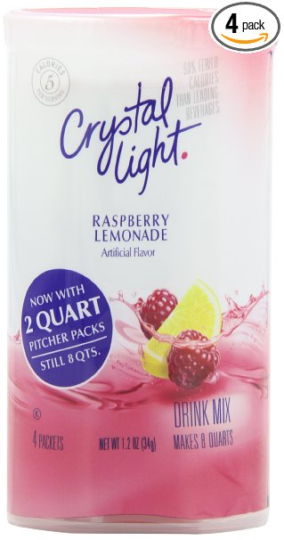 Amazon: Crystal Light Raspberry Lemonade Drink Mix (Makes 8-Quarts) (Pack of 4) Only $6.28