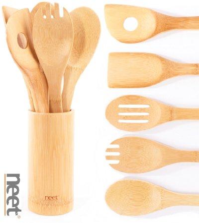 Neet Organic Wooden Bamboo Cooking & Serving Utensils, 6 Piece Set – Only $10.03 (reg. $49.95)