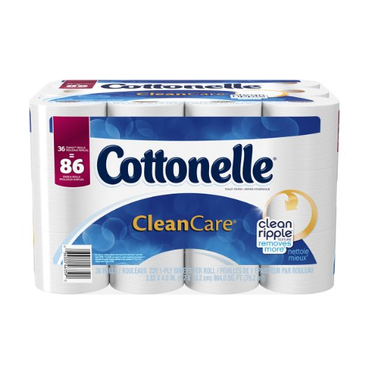 Cottonelle CleanCare Family Roll Toilet Paper Bath Tissue – Only $16.49 = 86 reg. rolls!