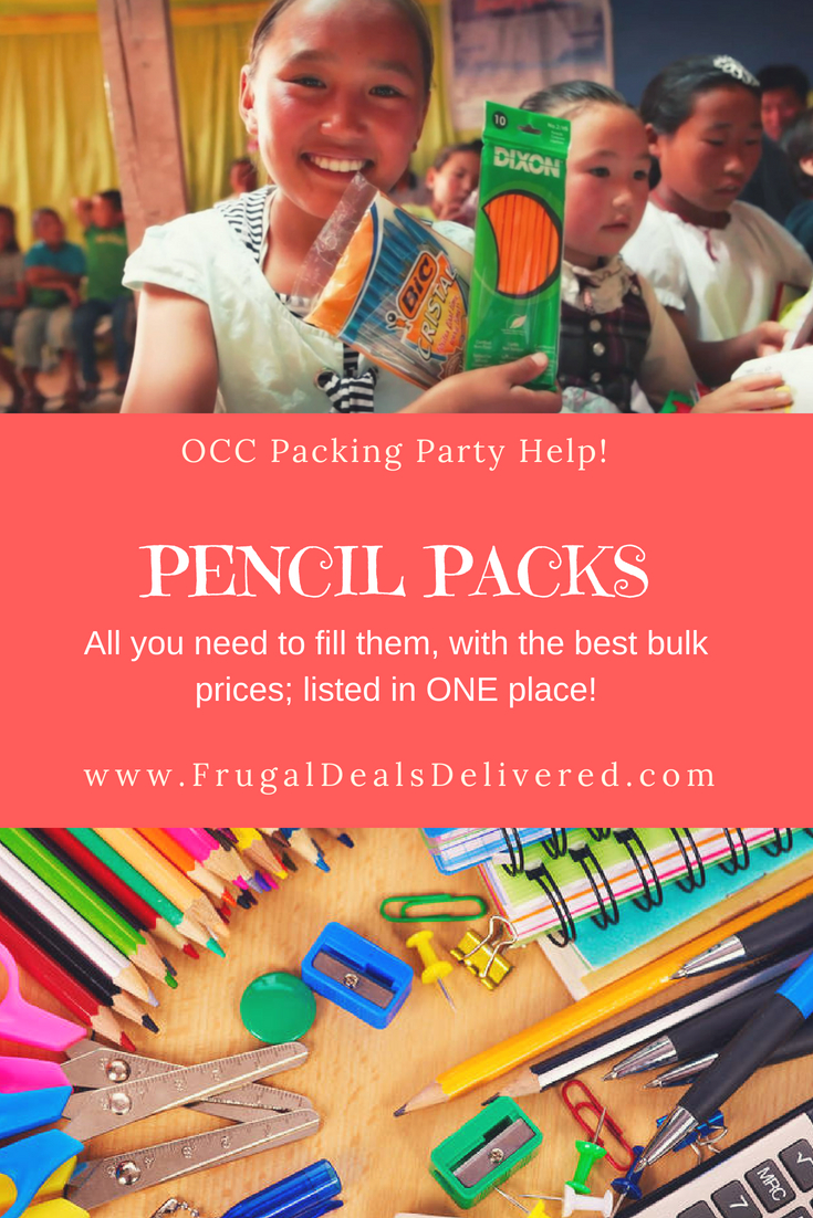 Pencil Packs all you need to bulk order - listed in ONE PLACE!! Operation Christmas Child (OCC)