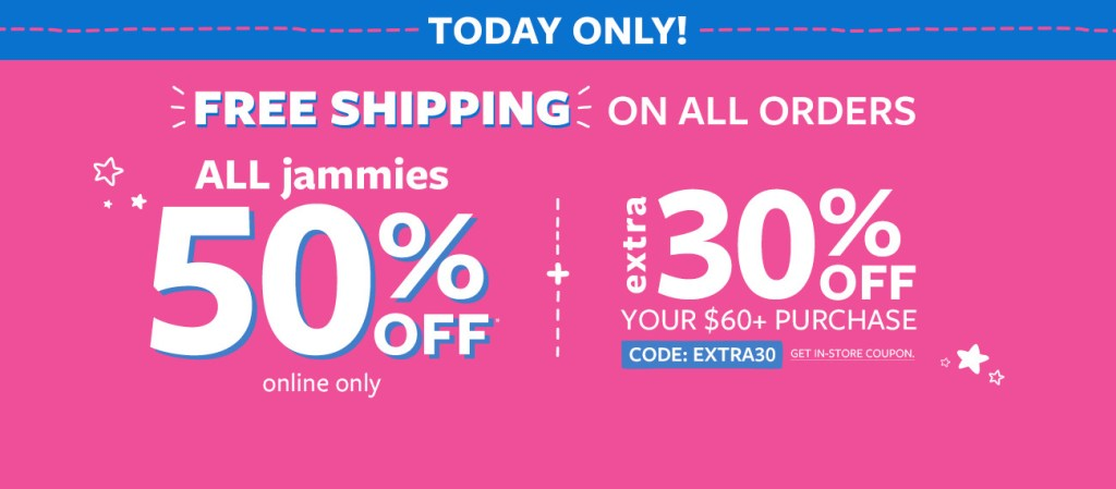 CARTER's 50% off FLASH Sale + FREE SHIP!! Stock up on all things BABY!!
