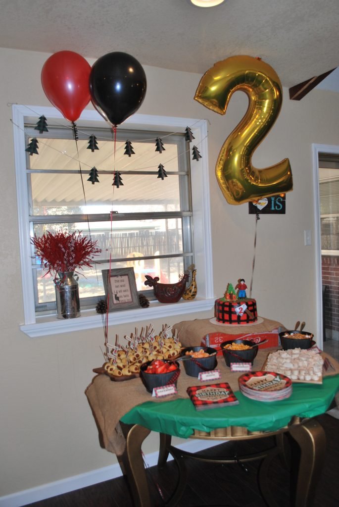 Lumberjack Party, Theme Party, Birthday Party, Toddler Birthday Party, Gold Number Balloons
