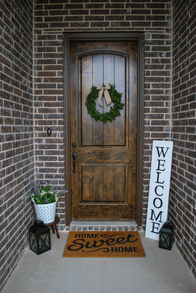 Spring Porch Decor Refresh, Faux Flowers, Boxwood Wreath, DIY Sign