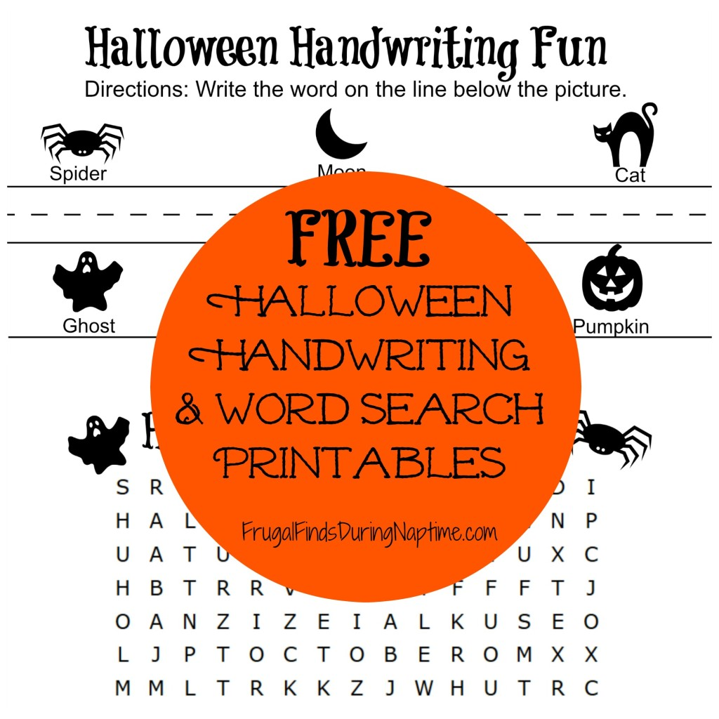 Free Halloween Handwriting And Word Search Printables