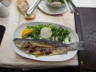 whole grilled fish on a white plate with green salad and lemon wedge