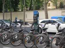 row of bikes for hire in Paris