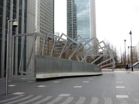 modern sculpture of rods of metal