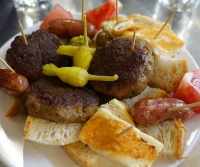 Plate of Greek food mezes