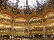 The galleries and stained glass dome of Galeries Lafayette in Paris