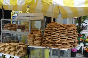 yellow street stall in Athens selling bread rings