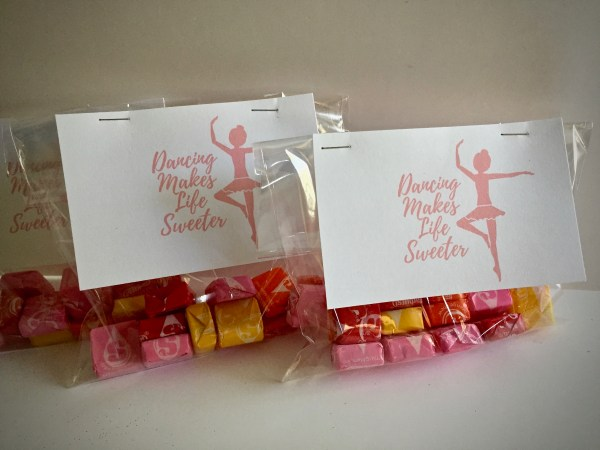 "Gift bags of candy with gift tag that reads ""Dancing makes life sweeter"" - Tutu-riffic Gifts For Dancers & Dance Teachers With Printable Gift Tags"