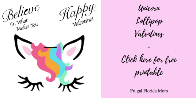 Unicorn Lollipop Valentines Free Printables