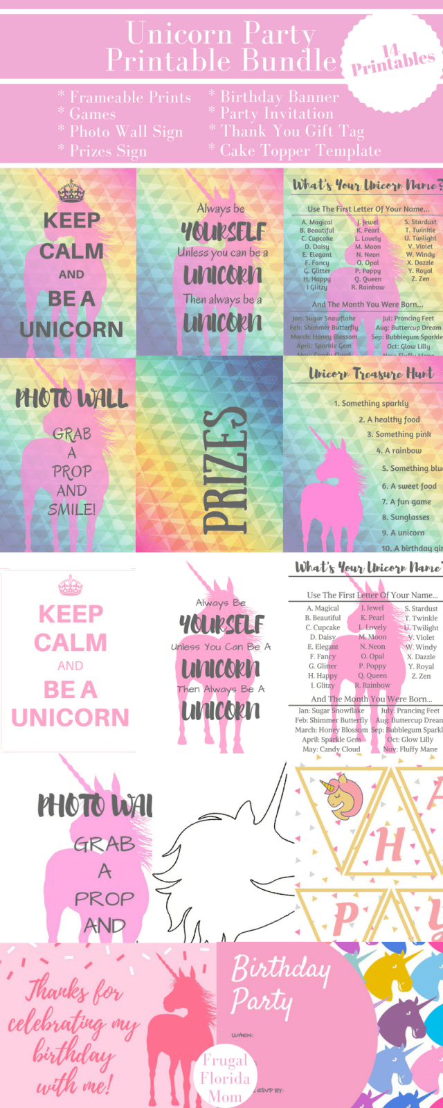 Unicorn Party Printable Bundle