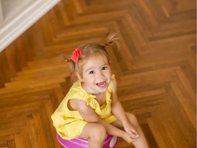 Young girl sitting on training potty - What Corporate Managers & Stay-At-Home Moms Have In Common