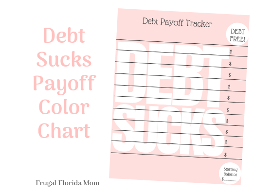 Debt Sucks Printable Payoff Color Chart