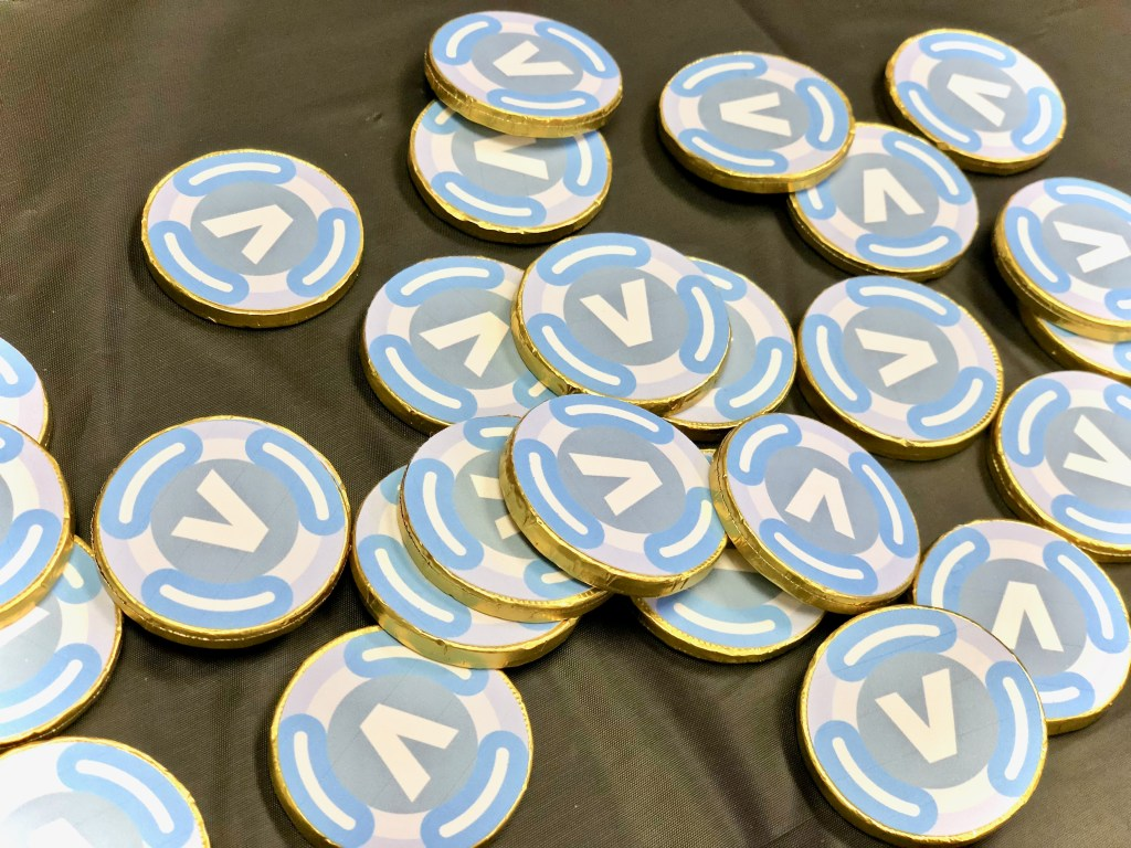 V Buck chocolate coins - Fortnite Birthday Party Ideas & Printables
