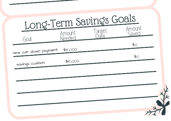 Long-Term Savings Goals chart - The One Thing That Kept Sabotaging My Budget