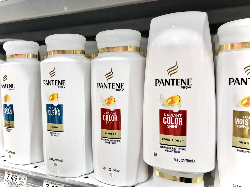 Pantene Shampoo & Conditioner on store shelf - Savings And Gift Card Back On P&G Haircare At Publix