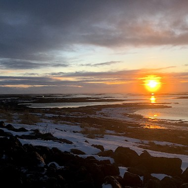 Sunrise over the sea in Iceland