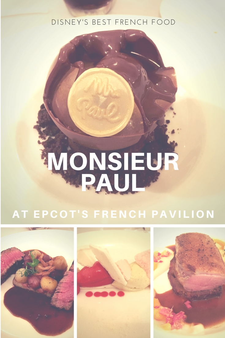 Monsieur Paul - French restaurant at EPCOT, is a masterpiece of French gastronomy, and the best to be found at Walt Disney World! Best Disney food! Best Disney restaurant!