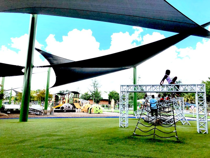 Depot Park Shaded Playground - 2-day itinerary for families in Gainesville, FL #gainesville #florida #tourofflorida #alachuacounty #gainesvilleFL #universityofflorida #UF #gogators #Gainesvillewithkids #gainesvilleitinerary