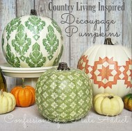 Decopage your pumpkin using a white glue/water recipe and most any material (paper, fabric, wallpaper, etc.). Image courtesy of Confessionsofaplateaddict.blogspot.com.