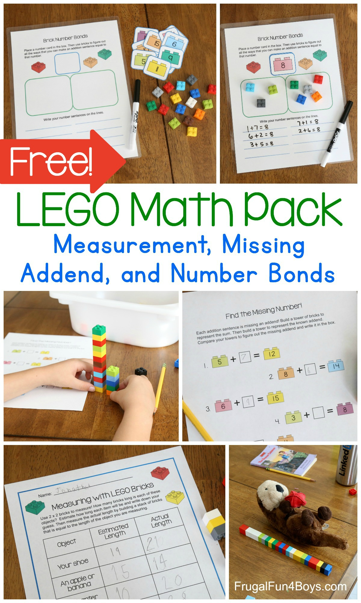First Grade Math With Lego Bricks Printable Pack