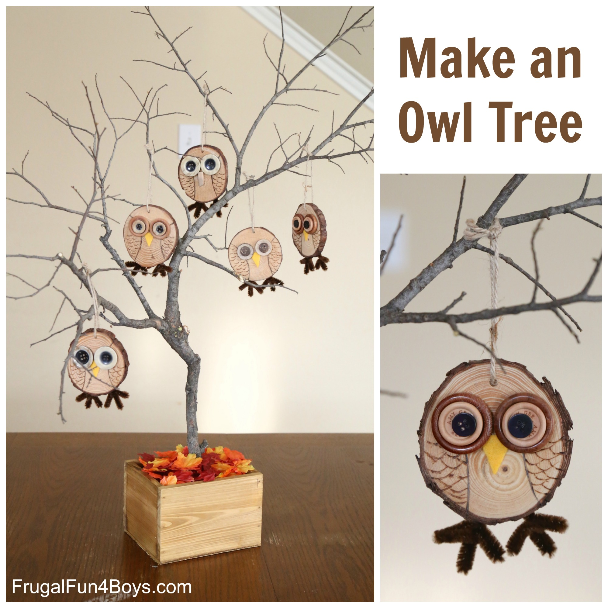 Make An Owl Tree Wood Slice Owl Ornament Craft