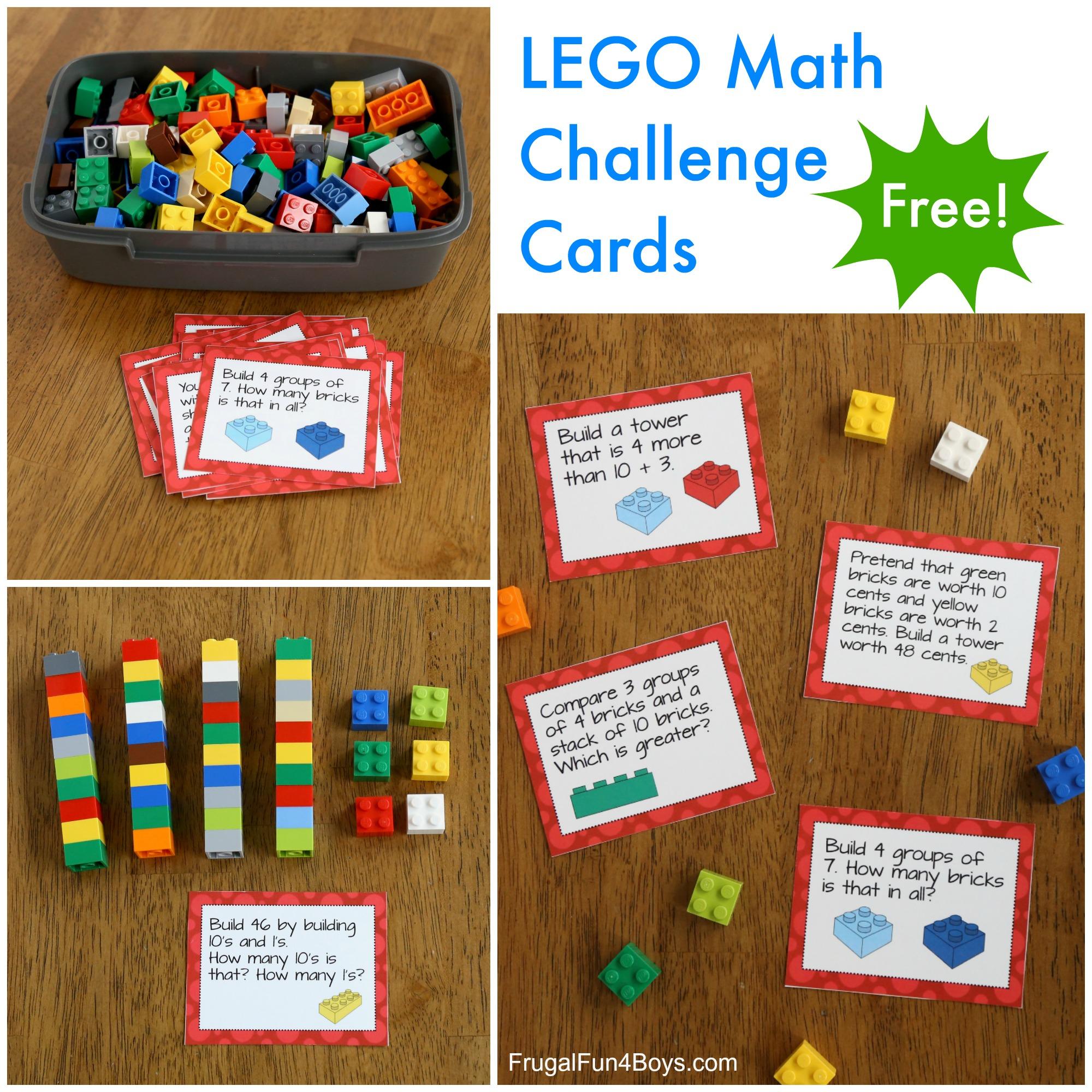 Lego Math Printable Challenge Cards