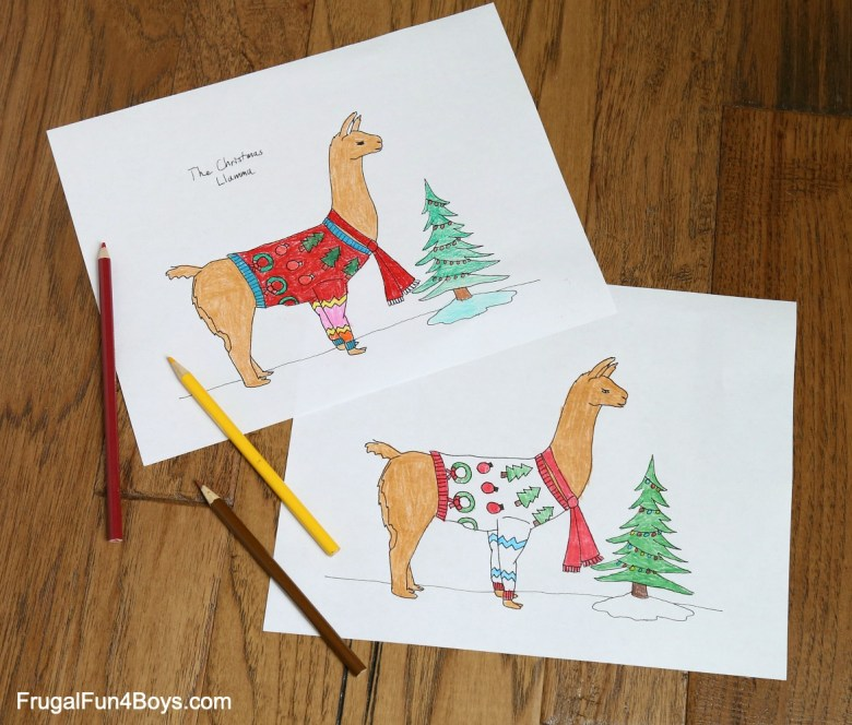 llama ugly sweater christmas coloring page - frugal fun for boys and