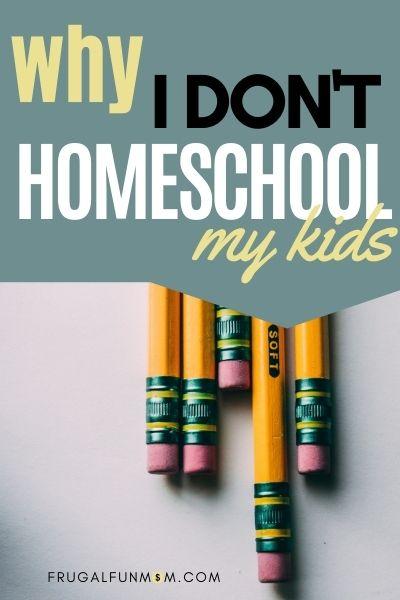 Why I Don't Homeschool My Kids | Frugal Fun Mom