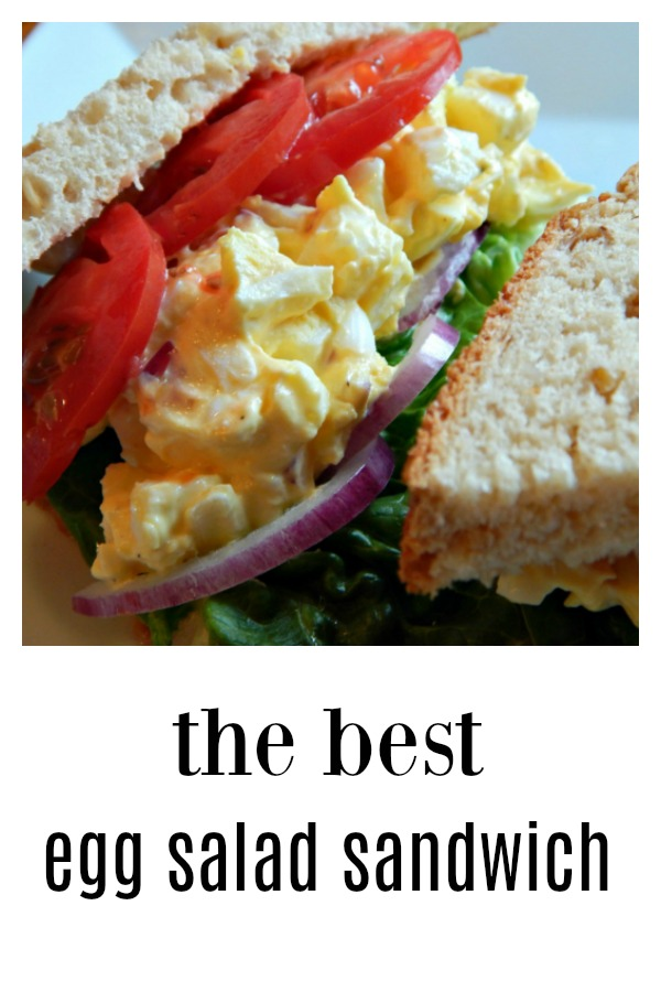 The Best Egg Salad Sandwich in the world! Cool, creamy, delicious with a bit of crunch from a smidge of red onion & celery. this Egg Salad is substantial! This is not your Mom's Egg Salad! #Egg Salad #Best Egg Salad