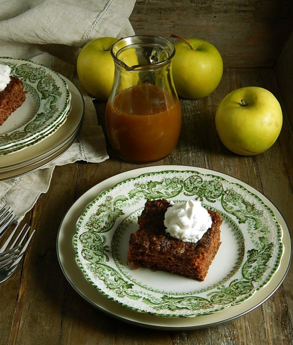 Grandma's Apple Cake with Caramel Rum Sauce