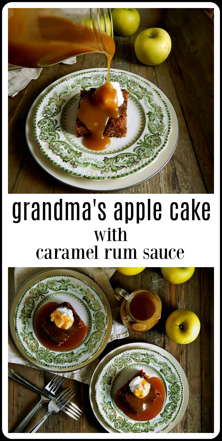 Grandma's Apple Cake with Caramel Rum Sauce is easy & down-home; a seriously must make lick your plate clean kind of deliciousness! And that caramel sauce? Oh my gosh, just make this! #GrandmasAppleCake #AppleCake  #AppleCakeRumSauce #AppleCakeCaramelRumSauce