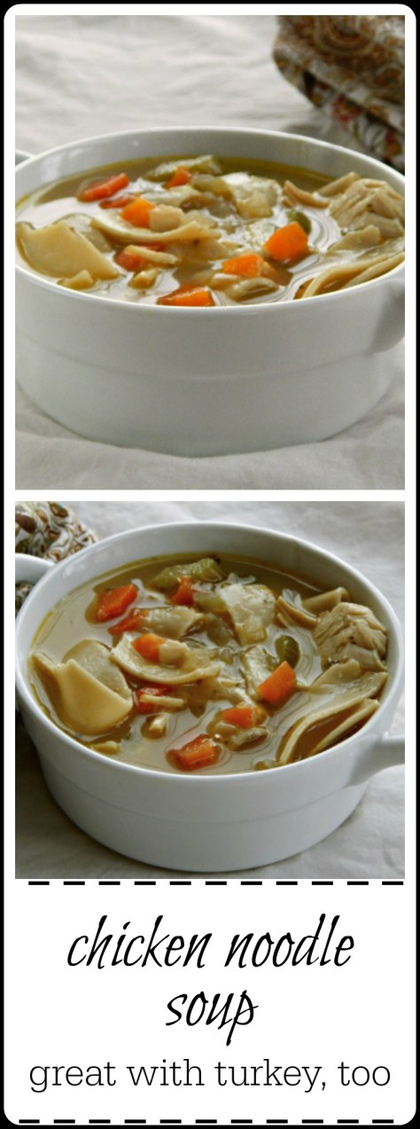 This soup is excellent made with chicken or turkey & any noodle is good but try the home-made egg noodle!!