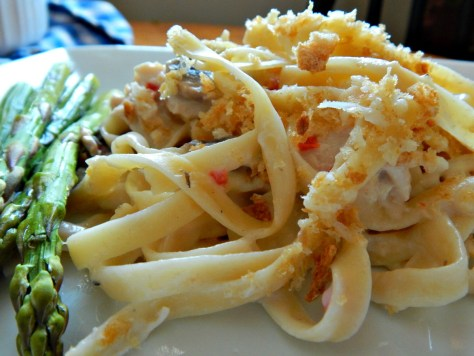 Turkey Tetrazzini made with fresh pepper, mushrooms & white sauce