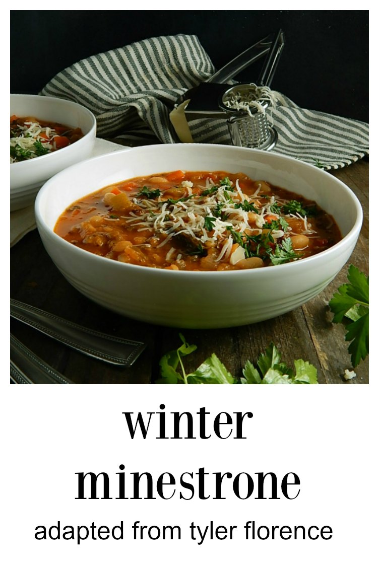 Easy Winter Minestrone with Sausage & Beans (adapted from Tyler Florence) is a beautiful thing! Flavorful, healthy & cheap. I love that the noodles are separate so that they don't get mushy - and it can be low carb or keto, too.. #TylerFlorenceMinestrone #WinterMinestrone