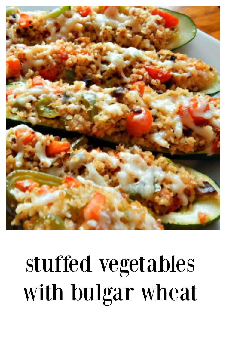 Stuffed Vegetables with Bulgar are a fun meatless meal option; stuff zucchini or summer squash, tomatoes or bell peppers. #BulgarStuffedVegetables #VegetablesStuffedwithBulgar