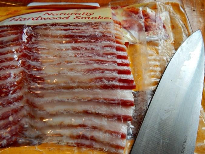 Slice through bacon while frozen, then return to freezer.