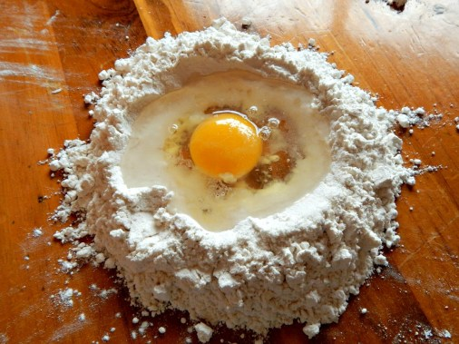Sprinkle with salt, crack an egg in center, add 2 1/2 eggshells of water. More may be needed if humidity is low, like in winter, but hold off for now.