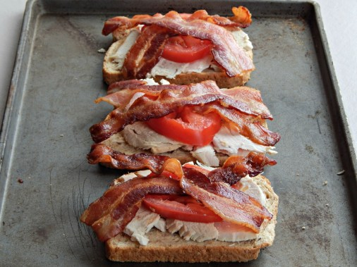 Light Hot Brown Sandwiches, ready for cheese sauce -this is buffet style oven baked bacon