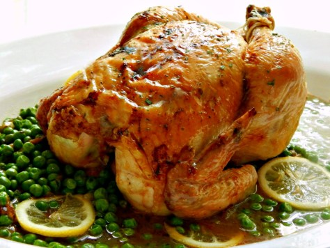 Honey Roast Chicken with Spring Peas