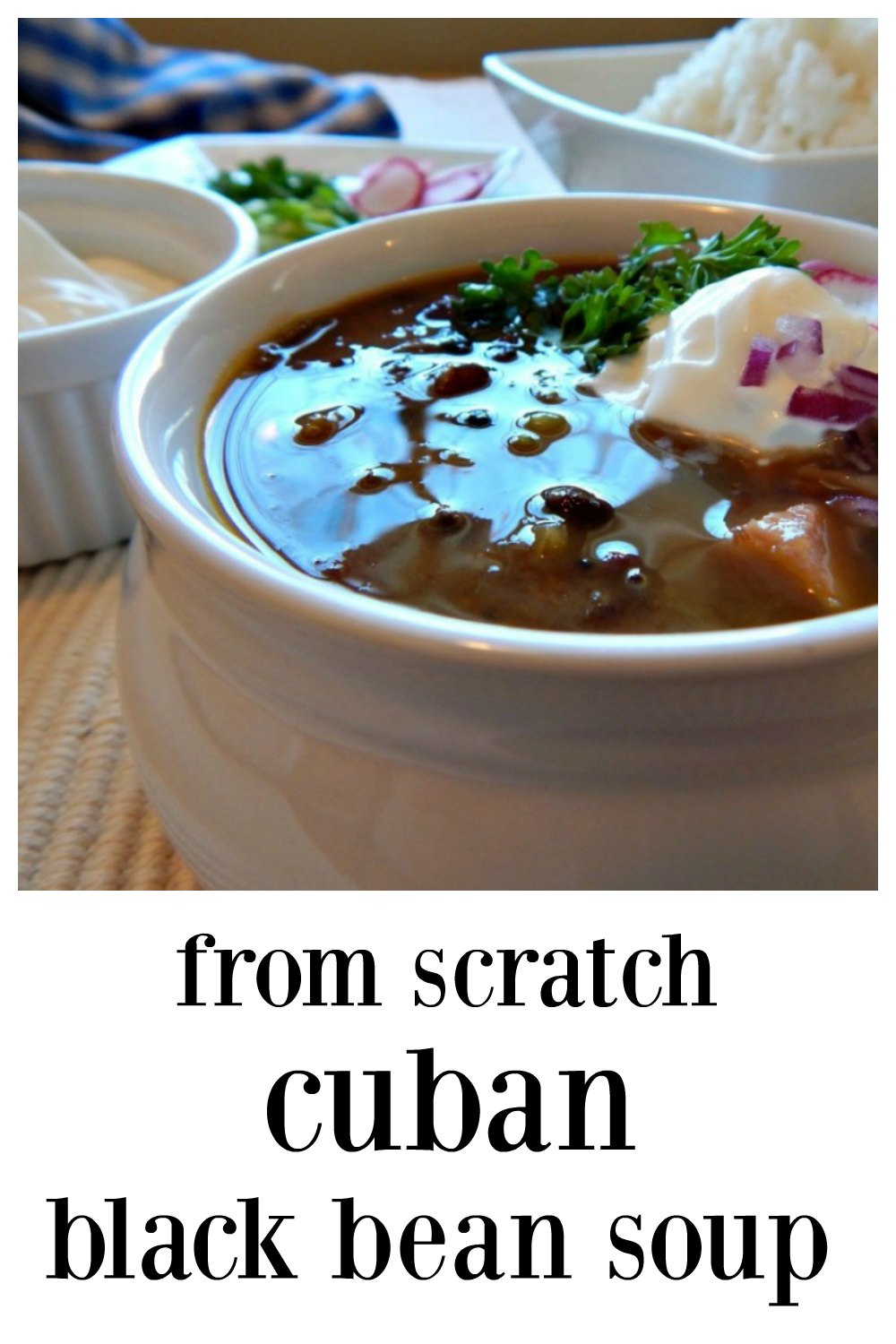 The best Cuban Black Bean Soup, made from scratch using dried beans. It's really glorious, almost addictive! Traditionally served with rice. #BlackBeanSoup #BestBlackBeanSoup #ScratchBlackBeanSoup #CubanRecipes #CubanBeanSoup #CubanBlackBeanSoup