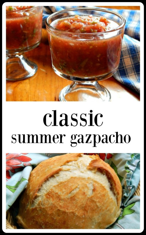 Classic Gazpacho - Clean version with no bread, but add it or serve it if you'd like.