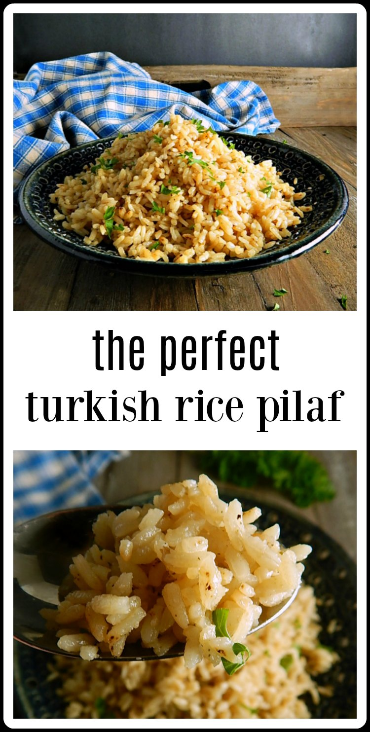 Turn out the most beautiful Turkish Rice Pilaf. It's easy to get perfectly flavored and textured rice once you know the simple methods. #TurkishRicePilaf #TurkishPilaf