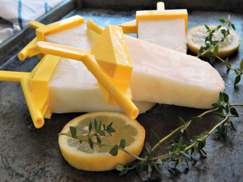 Lemon Buttermilk Popsicles - with or without Thyme